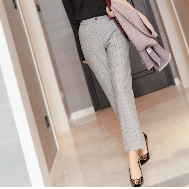 Good temperament 2020 new high-waisted commuter pants vertical striped suit pants hair and casual pants womens autumn winter straight pants