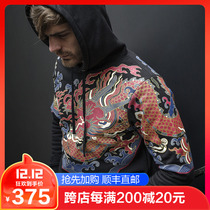 Wave big prove Orthodox Xiangyun Fuhai flying Fish suit outdoor retro print hooded warm clothes iron blood