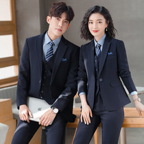 Interview dress female suit temperament dark blue navy men and women occupation wear the same suit 4S store manager work clothes