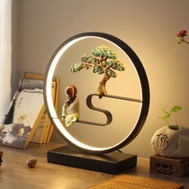 New Chinese lamp bedroom bedside lamp Zen retro living room creative remote control touch cartoon dimming smart lamp