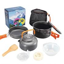 Outdoor 1-2-3 people set pot portable stove head pot combination picnic stove set pot multi-functional cookware non-stick pot