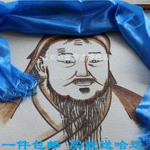 Genghis Khan portrait wool felt painting Inner Mongolia characteristic yurt decoration hot painting large size send Hada