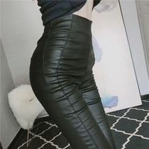 European station Black sexy Joker high waist tight leather pants women Spring and Autumn new fashion stitching matte small foot pants