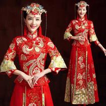 Baby Show wo dress bride wedding gown Chinese dress 2017 new show wo women Toast Dragon and Phoenix coat