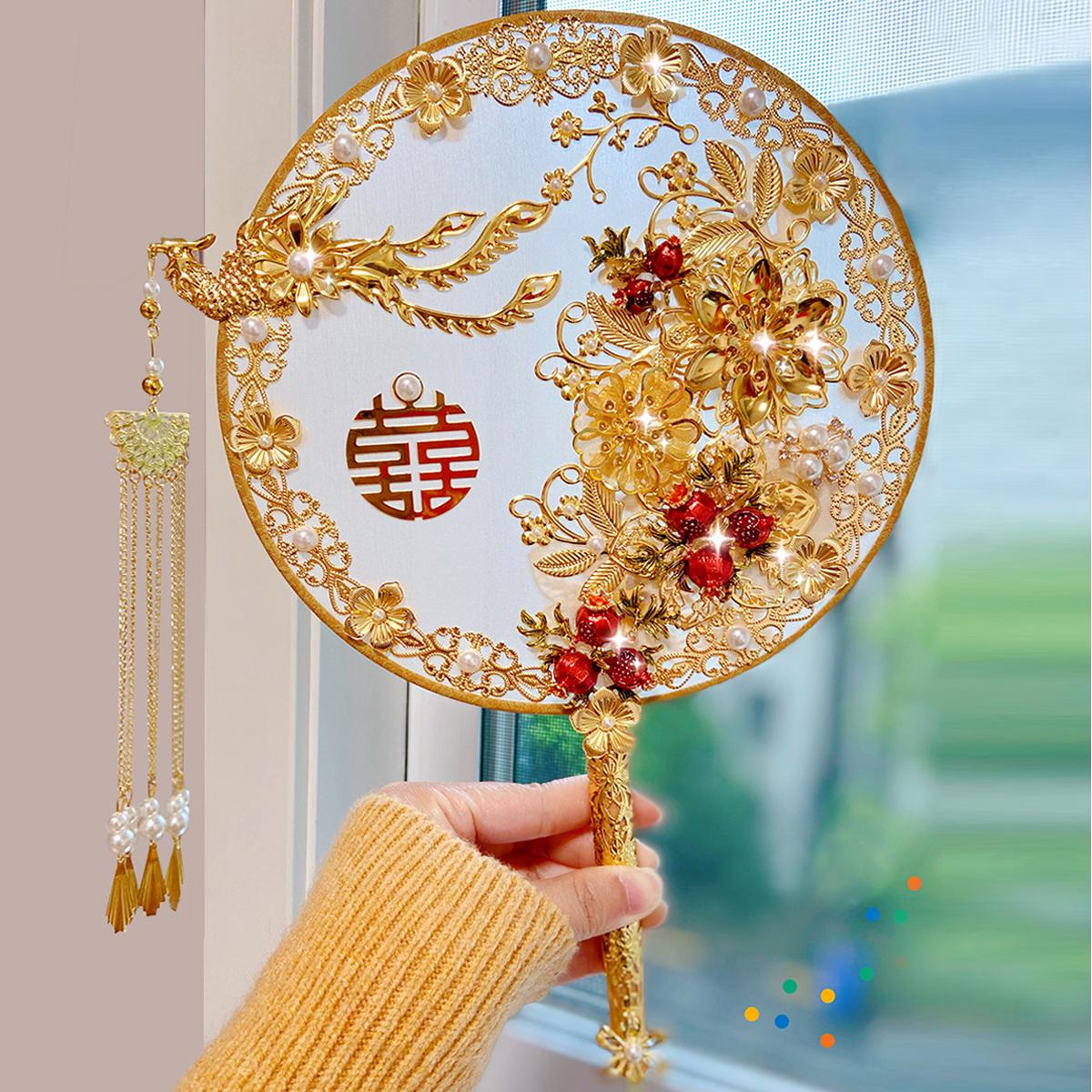Bride Chinese wedding troupe fan ancient wind wedding fan show clothes fan hand holding flower fan DIY material bag