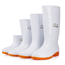 Big white rain shoes food factory work Rain Boots non-slip food hygiene boots oil resistant acid and alkali Cook water shoes