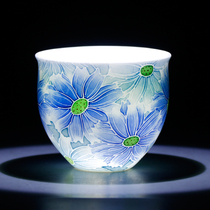 (Night Market) Jin porcelain founder provincial art master Xiao Jianhui hand-painted dark incense tasting cup.