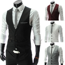 Men's suit vest Korean Slim suit vest vest Spring and Autumn thin section season casual British style poncho male
