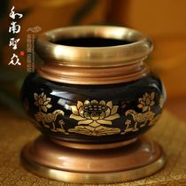 Buddhist Supplies Incense Censer sandalwood furnace thread incense furnace Pure Copper Relief lotus censer God of wealth incense furnace for Buddha Incense Furnace