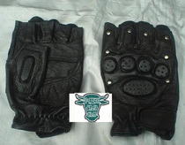 Clearance Special Mens brand new nail half finger hip-hop gloves black sheepskin outdoor field leather Fitness ride