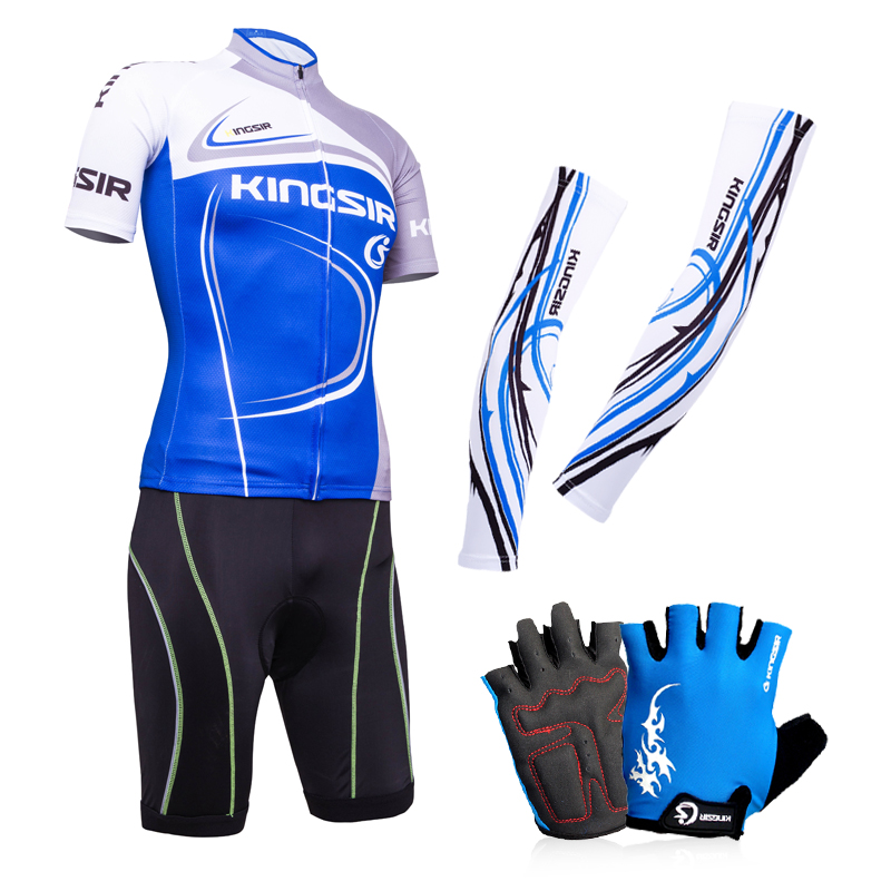 KS short-sleeved Jersey sleeve gloves cool suit men and women summer riding suit bicycle equipment thick silicone pad