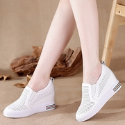 The new summer in the dermis increased white shoe female Korean all-match leisure shoes breathable hollow lazy Le Fuxie