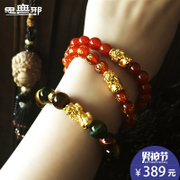 Brave 3D hard gold 999 year of fate six words Passepartout transport bead gold bracelet of male and female lovers