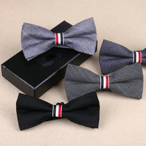 Korean version of Bow Tie men and women groom marriage dress TB style red white and blue three-color ribbon stripe knot tide