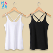 Female sexy Summer Cotton Camisole short base wear take the Korean all-match black small white blouse