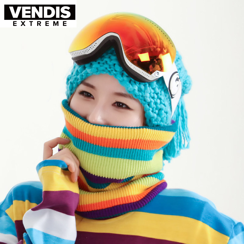 VENDIS EXTREME Neck and Neck Sheath Lovers and Women Outdoor Knitted Stripe Winter Skiing Scarf
