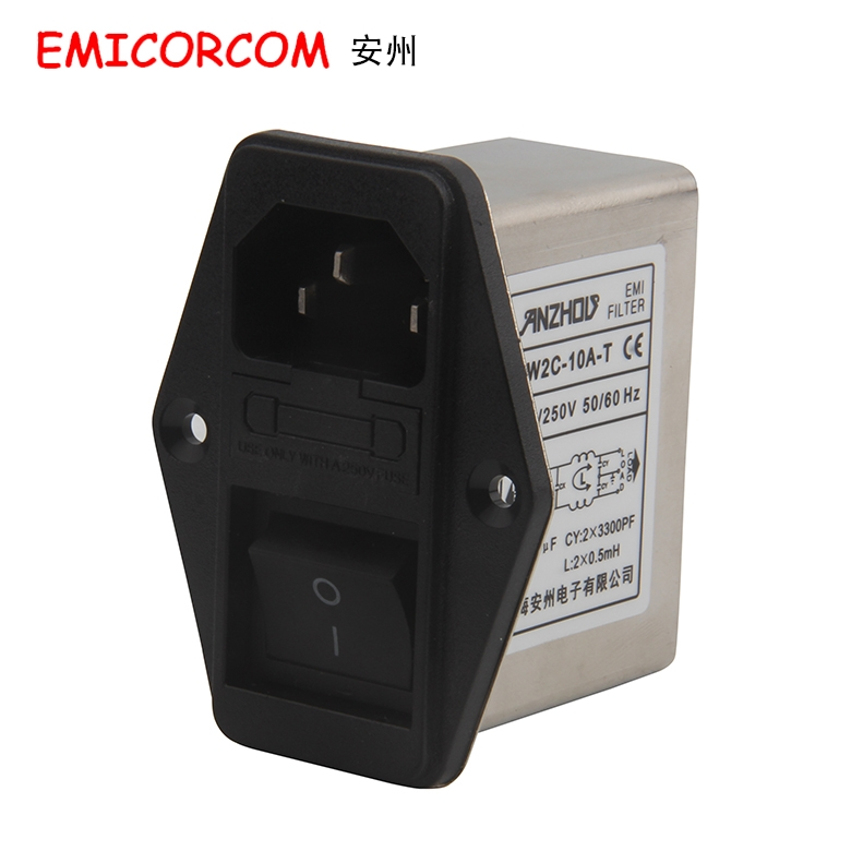 CW2C-10A-T AC power purifier Filter Inductor 10A socket switch filter