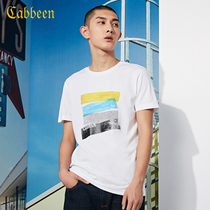 Carbene summer slim white printed cotton t shirt