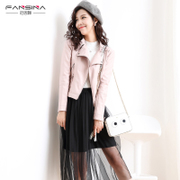 Vancena 2017 spring and autumn new PU motorcycle wear pink leather Korean version of the short jacket leather jacket