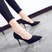 Korean Suede Heels female with a fine with all-match Shoes Sexy black shoes 2017 new spring