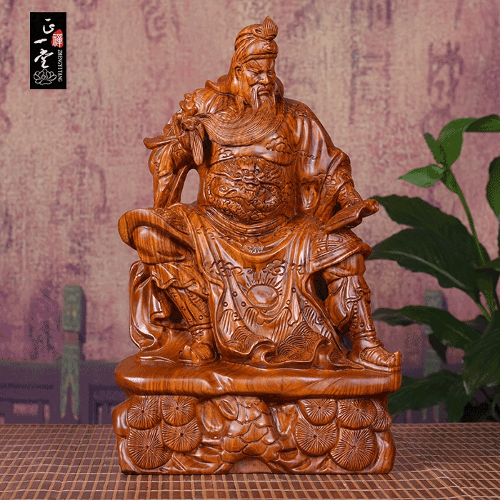 Mahogany wood carving, Guan Gong Buddha statue, night reading, spring and autumn statues, gifts, gifts, reading, Guan Gong Wu, God of wealth, handicrafts.
