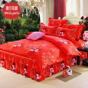 Korean bed skirt four piece thick sanding Red Wedding Princess wind bedspread quilt bedding 1.5/1.8m