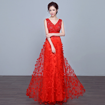 Wedding Red lace Flower bridal party self-cultivation Toast Dress