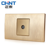 The new listing Zhengtai electrician type 118 switch socket NEW5D brushed gold embedded steel frame a TV socket