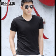 In the summer of 2 pieces of modal male short sleeved T-shirt collar V solid half sleeve shirt T-shirt men dress tide