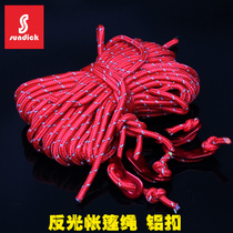 Tent fittings with coarse aluminum alloy adjustable buckle windproof rope. Sky pull rope. Tent Rope Outdoor Spare rope