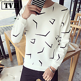 Men's Little Shirt Spring Long Sleeve T-Shirt Men's Sleeve Slim Shirt Youth Print Top Korean