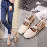2017 new shoes with a buckle shoes with thick Baotou Rome grandma student square sandals female tide