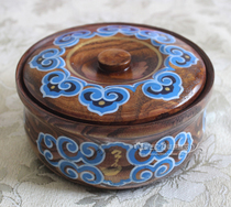 Fried rice bowl Mongolian characteristic solid wood tableware Mongolian meal special high-grade tableware hand-painted wooden bowl