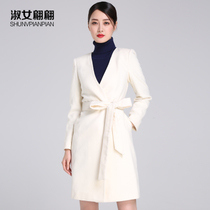 Ladies elegant Korean version of the new womens wool coats for fall winter white wool quality slim slimming tide