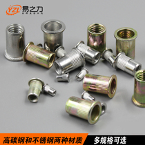 Easy force pull rivet nut flat head column riveting nut roll flower pull riveting stainless steel 304 rivet pull cap nut