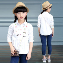 2107 spring 7 South Korea 8 6 white shirts casual shirts cotton girls boys fashion in age of 9 10 11 12