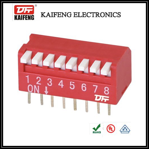 Kaifeng Electronics Red Side Dial Switch KF-1002 DIP Switch Side Dial 2-12