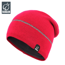 Scaler Outdoor windproof warm breathable knitted hat night run bike travel reflective hundred woolen cap