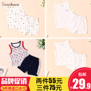 2017 new boys and girls wear short sleeved suit two baby 1-3 years old baby wear clothes in summer 2 Tide