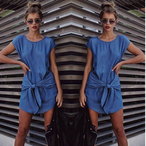 2016 summer Europe and the United States new denim dress wa