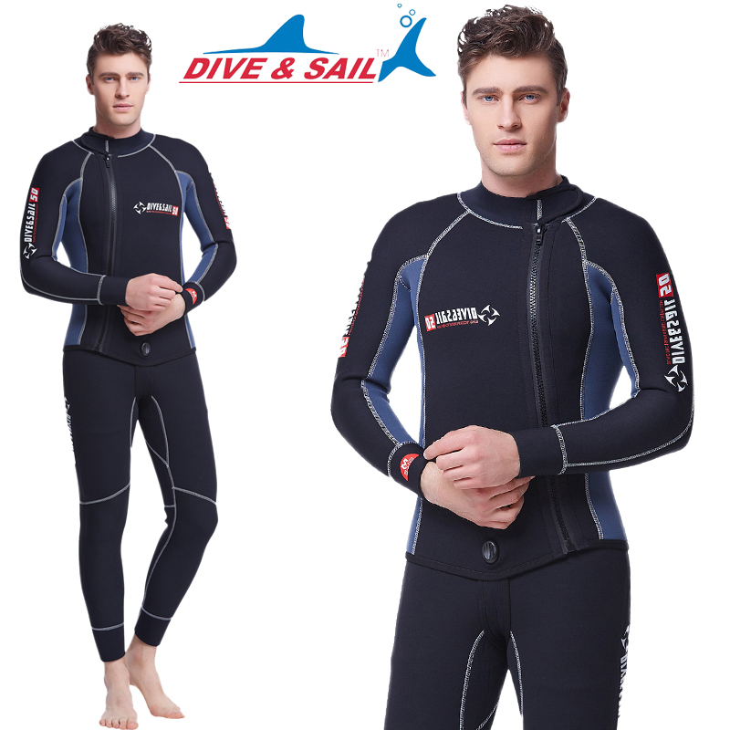 5MM thick diving diving suit male warm split diving suit long sleeve sun snorkeling Siamese winter swimming surf clothing