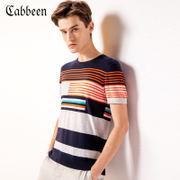 CABBEEN Mens color stripe round neck short sleeve sweater T-shirt sleeve head 2017 cotton T-shirt tide in summer air