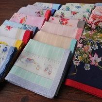 Export Japan ladies printing cotton soft thin sweat-absorbent fresh handkerchief art cute handkerchief wrist towel pure