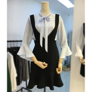 Summer Korean large size women fat fat sister MM chiffon shirt + fish skirt strap dress suit