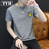 2017 Summer Short Sleeve Men Teenage Teenage Student Dressing Korean Slim Summer Men's Round T-Shirt