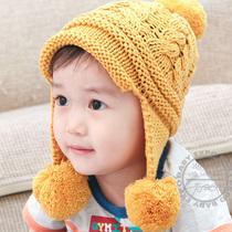 Корея импорт милый мяч мяч детские hat ребенок ребенок осень   зима теплая шапка вязать шерсть уха cap