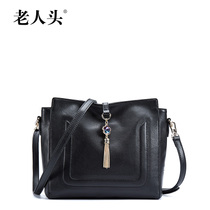 Old fashion leather fringed shoulder leather small bag