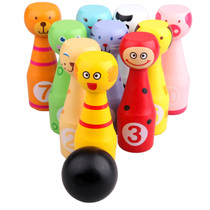 Large children solid wood cartoon animal bowling baby Early Education puzzle sports Toy Suite room inside and outside 1-3