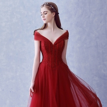 Korean style of self-cultivation red one word shoulder toast clothing