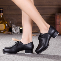 Tap dance shoes adult men and women tap shoes childrens lace leather high aluminum plate two-point soft bottom kick